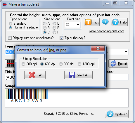 Software to export bar code 93 barcode graphics