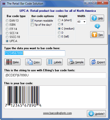 Click to see the Retail Bar Code Solution font software utility that comes with this package